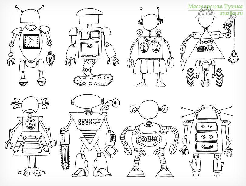 раскраска роботы детские раскраски скачать